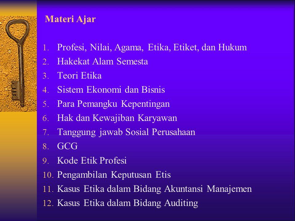 Materi Ajar 1. Profesi, Nilai, Agama, Etika, Etiket, dan Hukum 2. Hakekat Alam Semesta 3. Teori Etika 4. Sistem Ekonomi dan Bisnis 5. Para Pemangku Ke