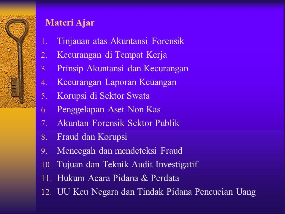 Materi Ajar 1. Tinjauan atas Akuntansi Forensik 2. Kecurangan di Tempat Kerja 3. Prinsip Akuntansi dan Kecurangan 4. Kecurangan Laporan Keuangan 5. Ko