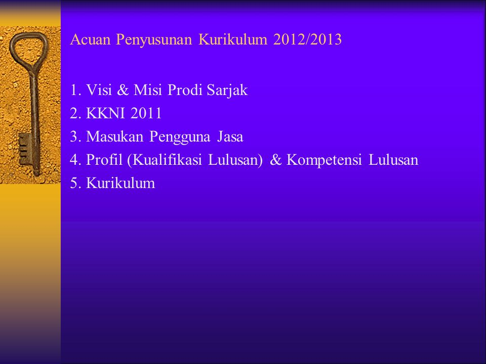 Acuan Penyusunan Kurikulum 2012/2013 1.Visi & Misi Prodi Sarjak 2.