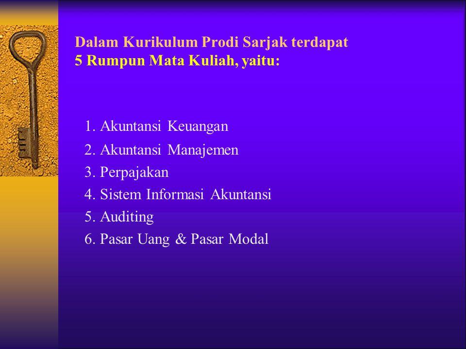 Dalam Kurikulum Prodi Sarjak terdapat 5 Rumpun Mata Kuliah, yaitu: 1. Akuntansi Keuangan 2. Akuntansi Manajemen 3. Perpajakan 4. Sistem Informasi Akun