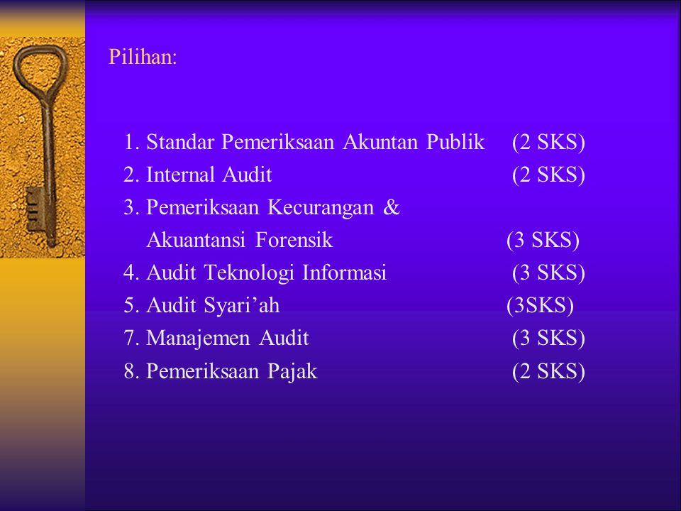 Pilihan: 1. Standar Pemeriksaan Akuntan Publik (2 SKS) 2. Internal Audit (2 SKS) 3. Pemeriksaan Kecurangan & Akuantansi Forensik(3 SKS) 4. Audit Tekno