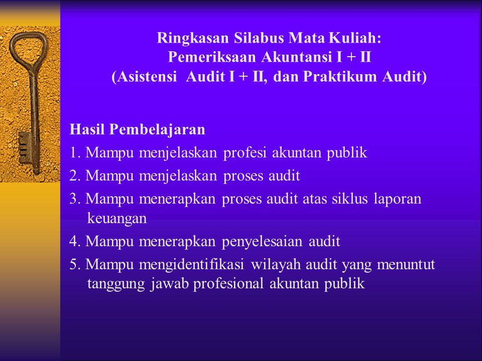 Materi Ajar Pemeriksaan Akuntansi I 1.Audit dan Profesi Akuntan Publik 2.