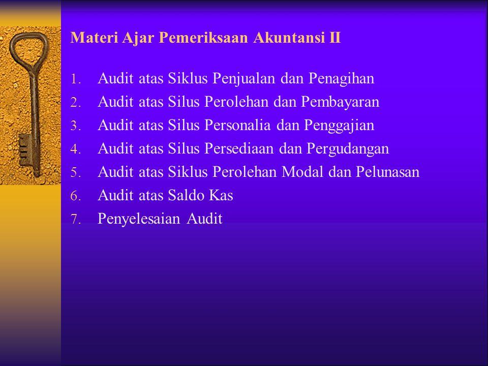 Materi Ajar Pemeriksaan Akuntansi II 1. Audit atas Siklus Penjualan dan Penagihan 2. Audit atas Silus Perolehan dan Pembayaran 3. Audit atas Silus Per