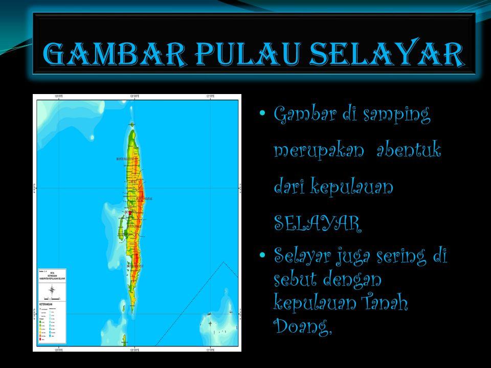 Gambar pulau selayar • Gambar di samping merupakan abentuk dari kepulauan SELAYAR • Selayar juga sering di sebut dengan kepulauan Tanah Doang,