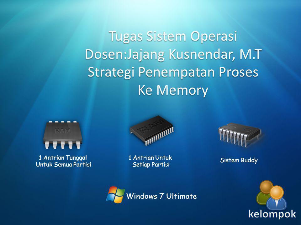 Windows 7 Ultimate Tugas Sistem Operasi Dosen:Jajang Kusnendar, M.T Strategi Penempatan Proses Ke Memory 1 Antrian Tunggal Partisi Untuk Semua Partisi 1 Antrian Untuk Setiap Partisi Sistem Buddy