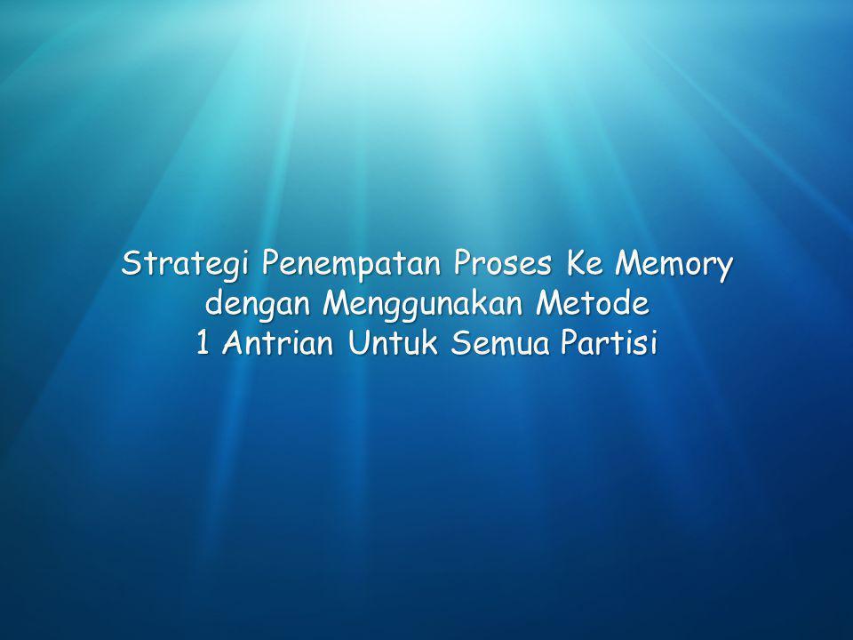 Strategi Penempatan Proses Ke Memory dengan Menggunakan Metode 1 Antrian Untuk Semua Partisi