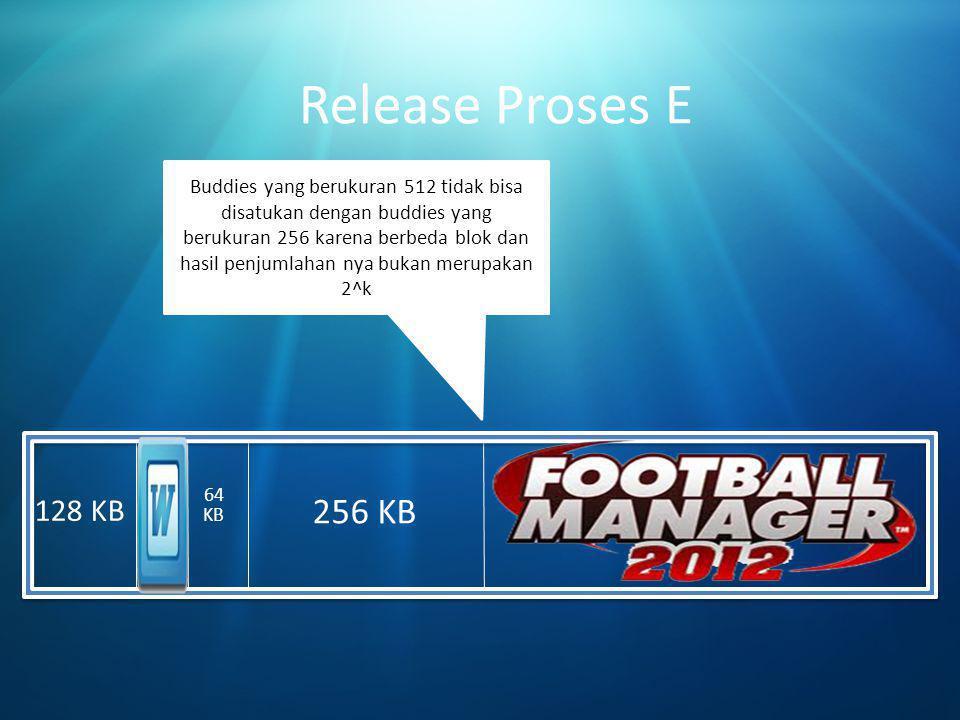 512 KB Release Proses E 256 KB 64 KB 128 KB Buddies yang berukuran 512 tidak bisa disatukan dengan buddies yang berukuran 256 karena berbeda blok dan hasil penjumlahan nya bukan merupakan 2^k