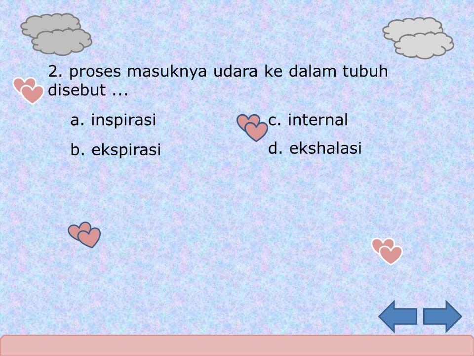 2. proses masuknya udara ke dalam tubuh disebut... a. inspirasi b. ekspirasi c. internal d. ekshalasi