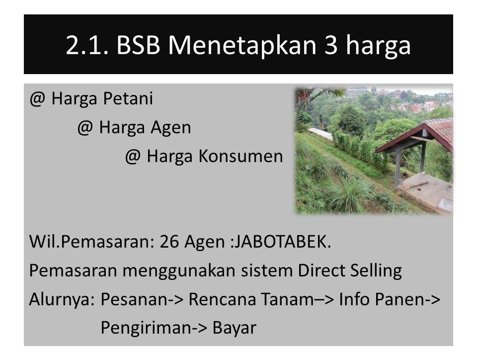 2.1. BSB Menetapkan 3 harga @ Harga Petani @ Harga Agen @ Harga Konsumen Wil.Pemasaran: 26 Agen :JABOTABEK. Pemasaran menggunakan sistem Direct Sellin