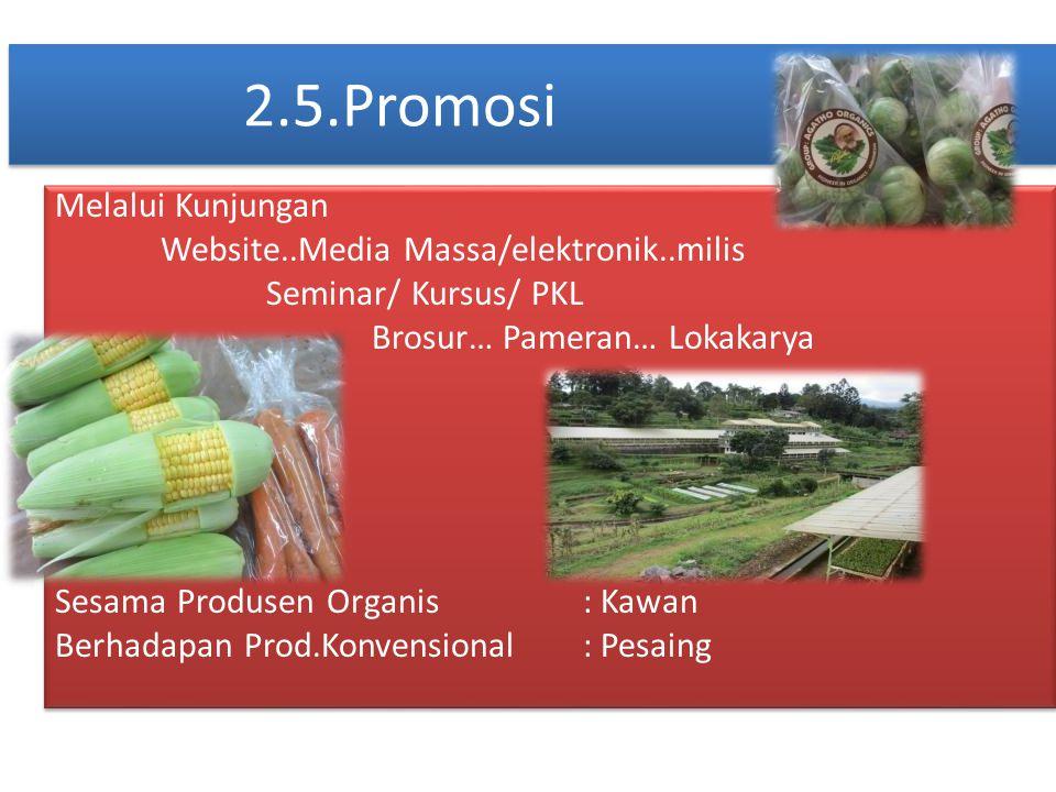 2.5.Promosi Melalui Kunjungan Website..Media Massa/elektronik..milis Seminar/ Kursus/ PKL Brosur… Pameran… Lokakarya Sesama Produsen Organis: Kawan Be