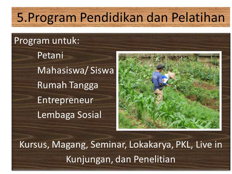 Program untuk: Petani Mahasiswa/ Siswa Rumah Tangga Entrepreneur Lembaga Sosial Kursus, Magang, Seminar, Lokakarya, PKL, Live in Kunjungan, dan Peneli