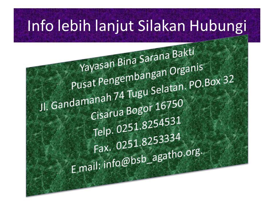 Info lebih lanjut Silakan Hubungi