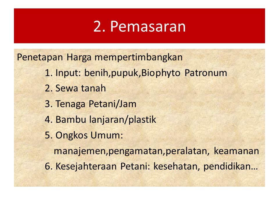 2. Pemasaran Penetapan Harga mempertimbangkan 1. Input: benih,pupuk,Biophyto Patronum 2. Sewa tanah 3. Tenaga Petani/Jam 4. Bambu lanjaran/plastik 5.