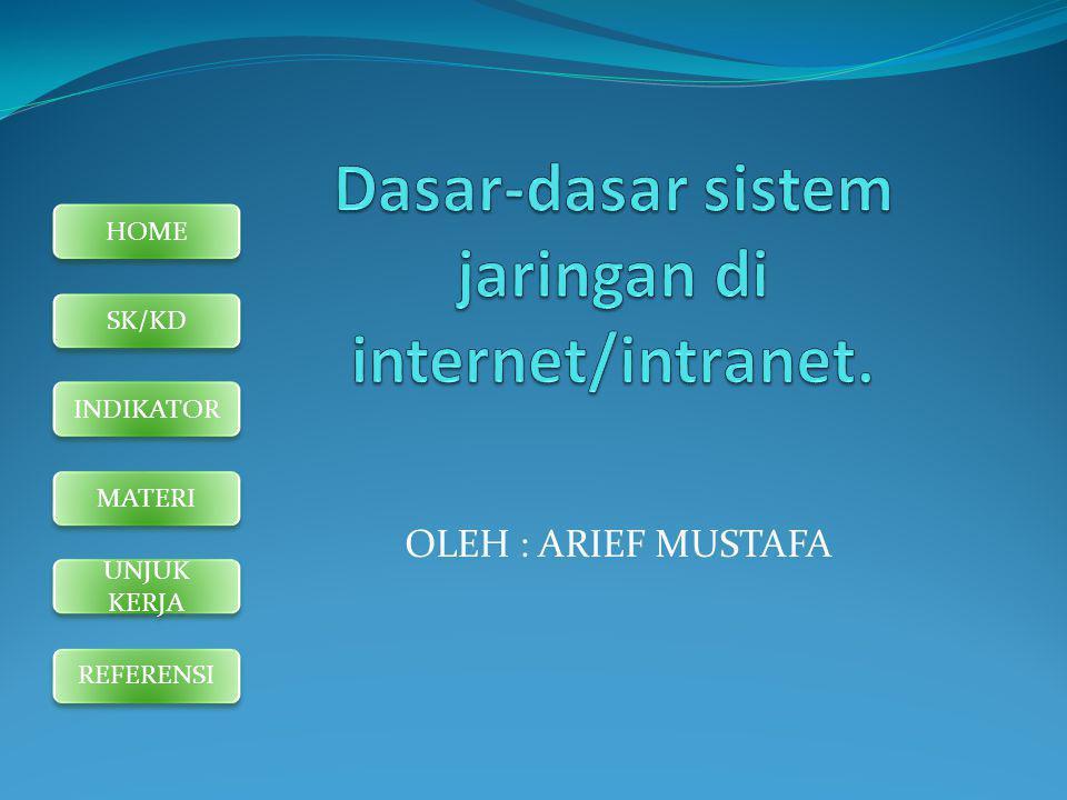 HOME SK/KD INDIKATOR MATERI UNJUK KERJA REFERENSI STANDAR KOMPETENSI : Memahami dasar-dasar penggunaan internet/intranet.