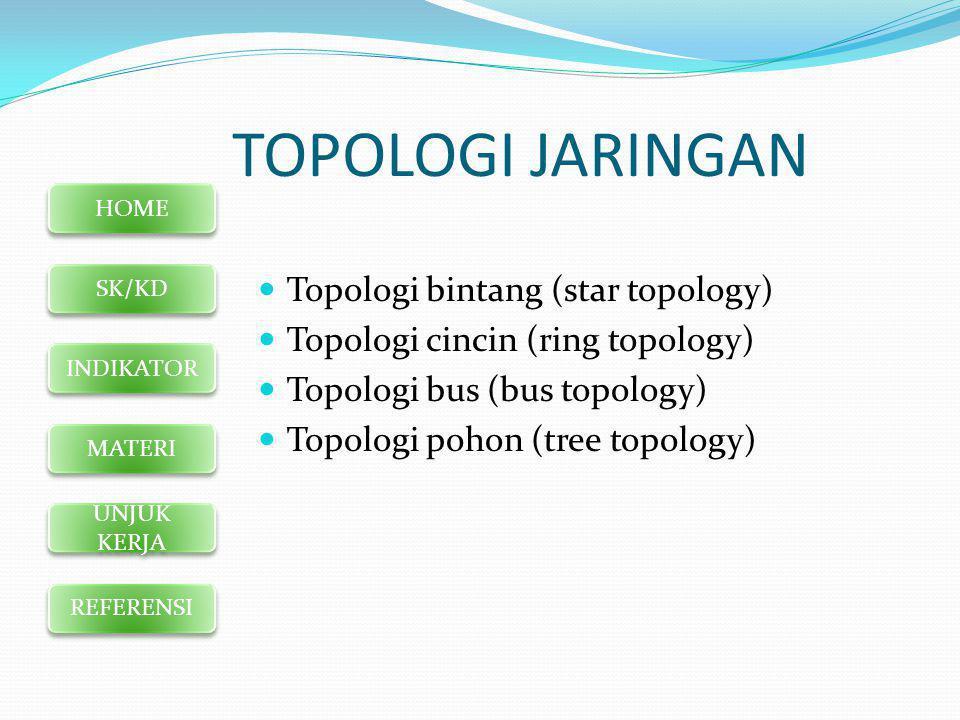 HOME SK/KD INDIKATOR MATERI UNJUK KERJA REFERENSI TOPOLOGI JARINGAN  Topologi bintang (star topology)  Topologi cincin (ring topology)  Topologi bus (bus topology)  Topologi pohon (tree topology)