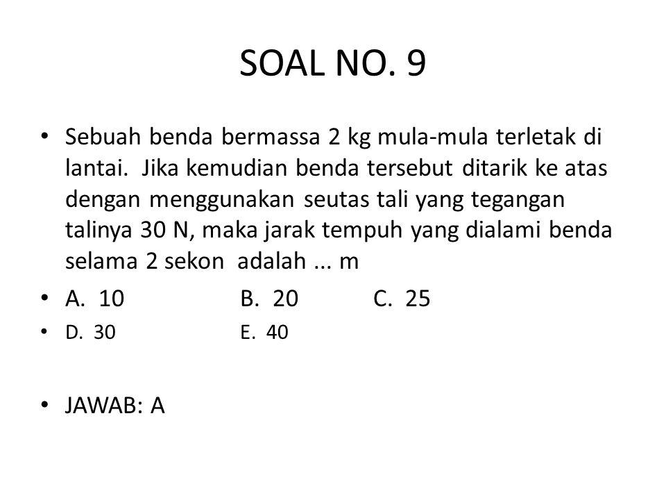 SOAL NO.9 • Sebuah benda bermassa 2 kg mula-mula terletak di lantai.