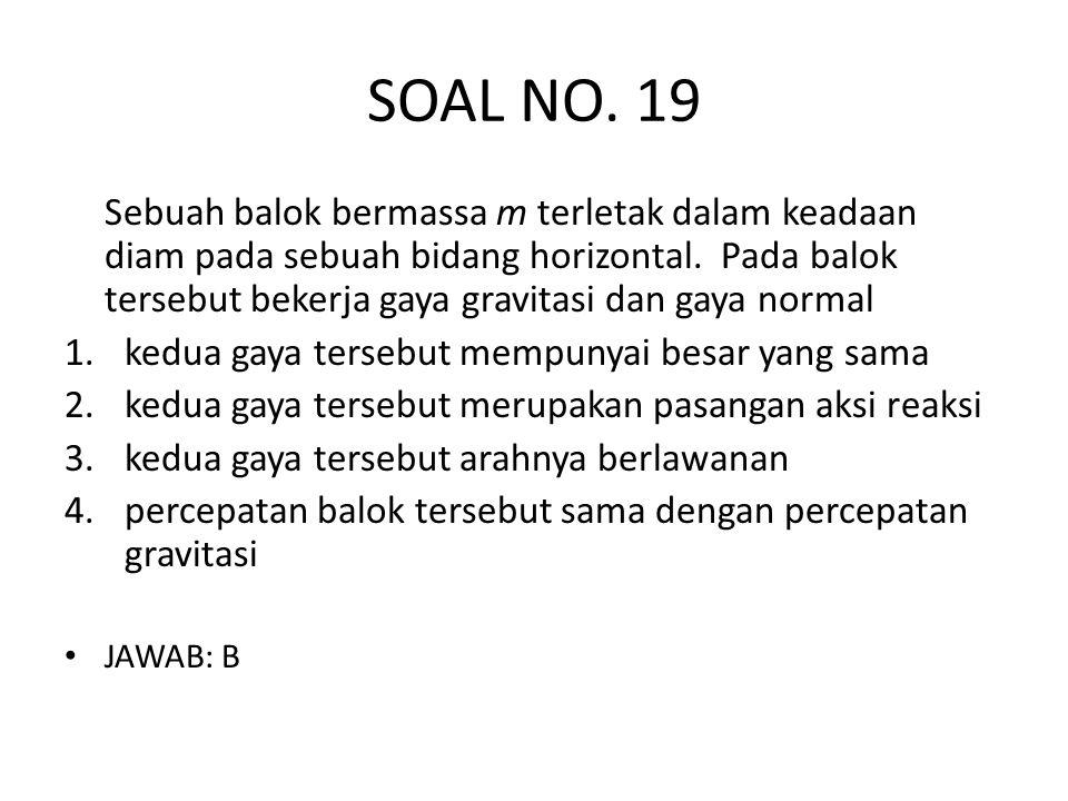 SOAL NO.19 Sebuah balok bermassa m terletak dalam keadaan diam pada sebuah bidang horizontal.