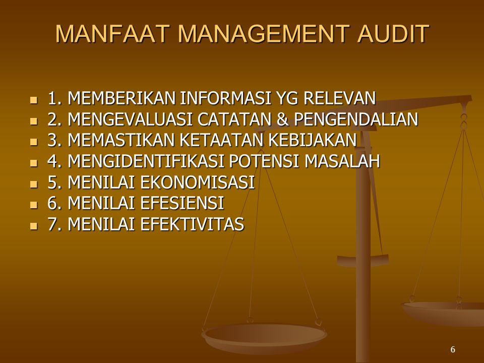 6 MANFAAT MANAGEMENT AUDIT  1. MEMBERIKAN INFORMASI YG RELEVAN  2. MENGEVALUASI CATATAN & PENGENDALIAN  3. MEMASTIKAN KETAATAN KEBIJAKAN  4. MENGI