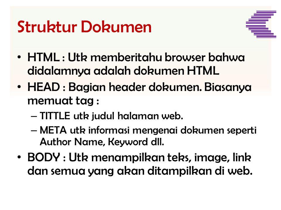 Struktur Dokumen • HTML : Utk memberitahu browser bahwa didalamnya adalah dokumen HTML • HEAD : Bagian header dokumen. Biasanya memuat tag : – TITTLE