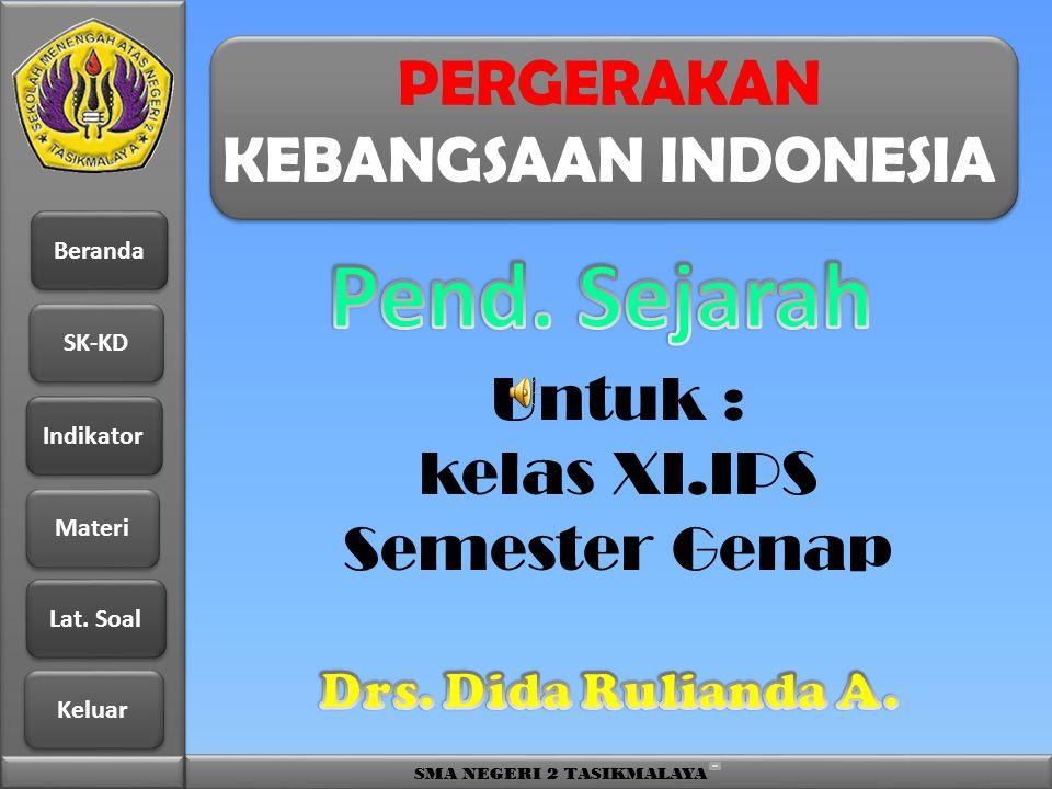 Beranda SK-KD Indikator Materi Lat. Soal Lat. Soal Keluar SMA NEGERI 2 TASIKMALAYA PERGERAKAN KEBANGSAAN INDONESIA Untuk : kelas XI.IPS Semester Genap