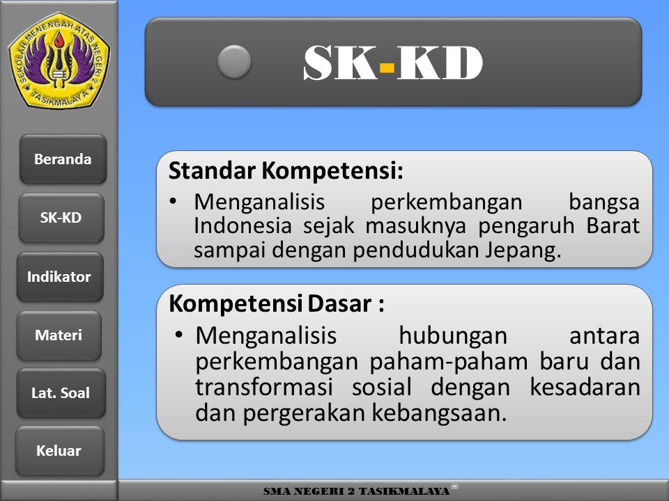Beranda SK-KD Indikator Materi Lat. Soal Lat. Soal Keluar SMA NEGERI 2 TASIKMALAYA SK-KD Standar Kompetensi: • Menganalisis perkembangan bangsa Indone