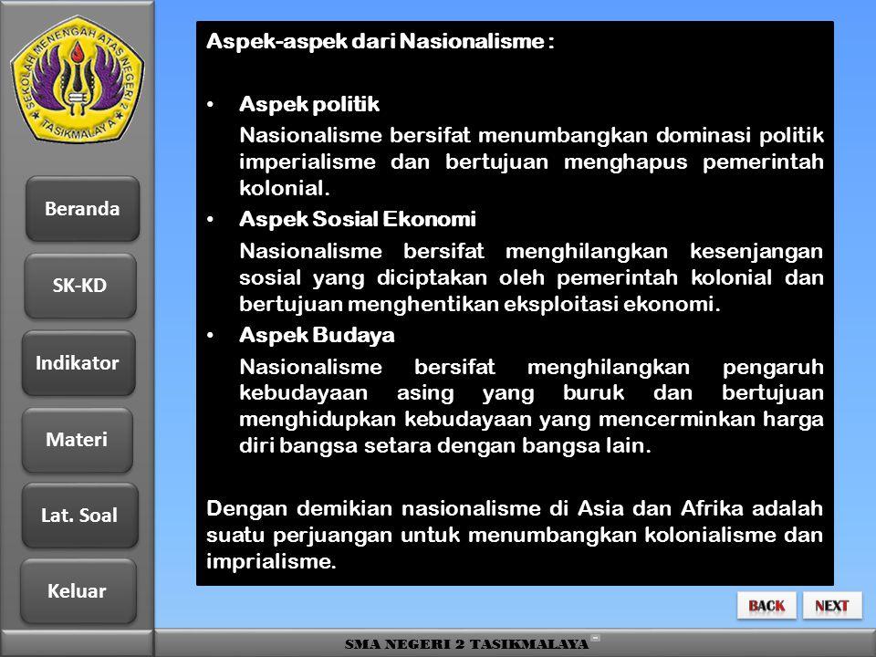 Beranda SK-KD Indikator Materi Lat. Soal Lat. Soal Keluar SMA NEGERI 2 TASIKMALAYA Aspek-aspek dari Nasionalisme : • Aspek politik Nasionalisme bersif
