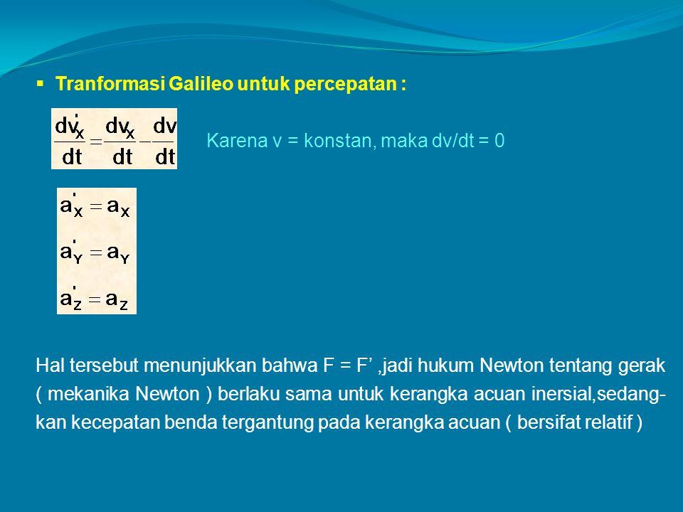  Tranformasi Galileo untuk percepatan : Karena v = konstan, maka dv/dt = 0 Hal tersebut menunjukkan bahwa F = F',jadi hukum Newton tentang gerak ( me
