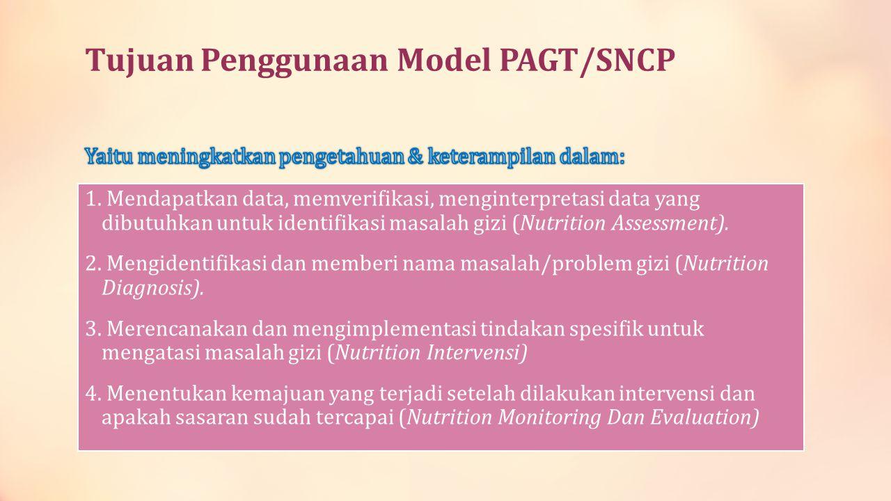 Tujuan Penggunaan Model PAGT/SNCP 1. Mendapatkan data, memverifikasi, menginterpretasi data yang dibutuhkan untuk identifikasi masalah gizi (Nutrition