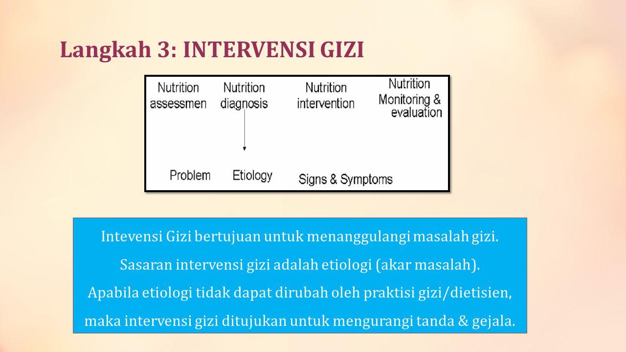 Langkah 3: INTERVENSI GIZI Intevensi Gizi bertujuan untuk menanggulangi masalah gizi. Sasaran intervensi gizi adalah etiologi (akar masalah). Apabila