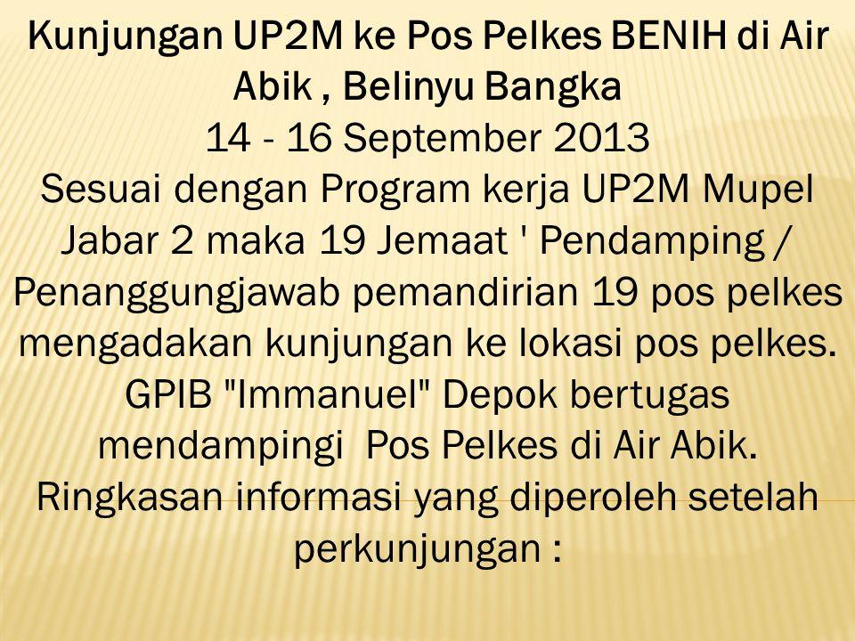 Kunjungan UP2M ke Pos Pelkes BENIH di Air Abik, Belinyu Bangka 14 - 16 September 2013 Sesuai dengan Program kerja UP2M Mupel Jabar 2 maka 19 Jemaat '