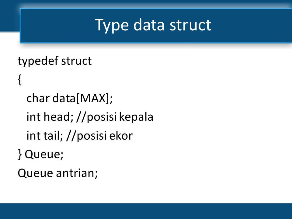 Deklarasi * Deklarasikan array dngn nama data, panjangnya : MAX * Deklarasikan variable head, tail dan count bertipe integer * Deklarasikan array dngn nama data, panjangnya : MAX * Deklarasikan variable head, tail dan count bertipe integer