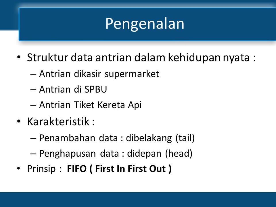 Pengenalan • Struktur data antrian dalam kehidupan nyata : – Antrian dikasir supermarket – Antrian di SPBU – Antrian Tiket Kereta Api • Karakteristik : – Penambahan data : dibelakang (tail) – Penghapusan data : didepan (head) • Prinsip : FIFO ( First In First Out )