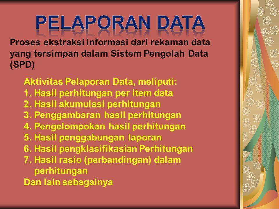 Proses ekstraksi informasi dari rekaman data yang tersimpan dalam Sistem Pengolah Data (SPD) Aktivitas Pelaporan Data, meliputi: 1.Hasil perhitungan per item data 2.Hasil akumulasi perhitungan 3.Penggambaran hasil perhitungan 4.Pengelompokan hasil perhitungan 5.Hasil penggabungan laporan 6.Hasil pengklasifikasian Perhitungan 7.Hasil rasio (perbandingan) dalam perhitungan Dan lain sebagainya