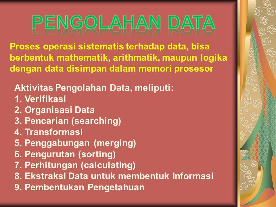 Proses operasi sistematis terhadap data, bisa berbentuk mathematik, arithmatik, maupun logika dengan data disimpan dalam memori prosesor Aktivitas Pengolahan Data, meliputi: 1.Verifikasi 2.Organisasi Data 3.Pencarian (searching) 4.Transformasi 5.Penggabungan (merging) 6.Pengurutan (sorting) 7.Perhitungan (calculating) 8.Ekstraksi Data untuk membentuk Informasi 9.Pembentukan Pengetahuan