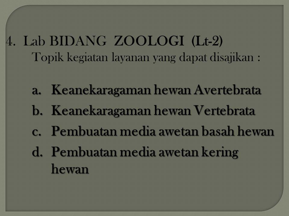 4. Lab BIDANG ZOOLOGI (Lt-2) Topik kegiatan layanan yang dapat disajikan : a.Keanekaragaman hewan Avertebrata b.Keanekaragaman hewan Vertebrata c.Pemb