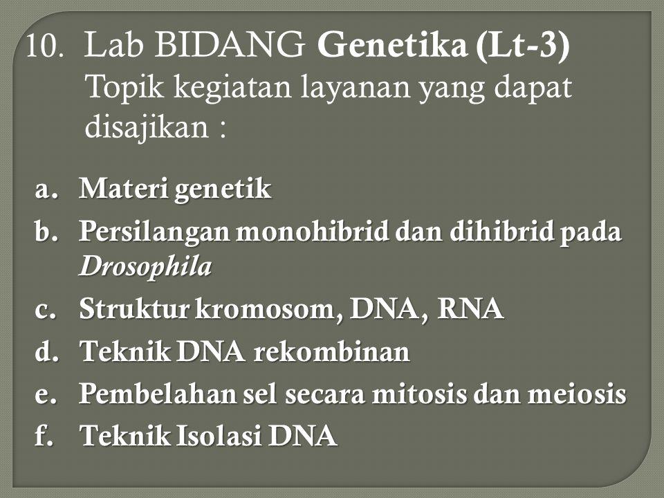 10. Lab BIDANG Genetika (Lt-3) Topik kegiatan layanan yang dapat disajikan : a.Materi genetik b.Persilangan monohibrid dan dihibrid pada Drosophila c.