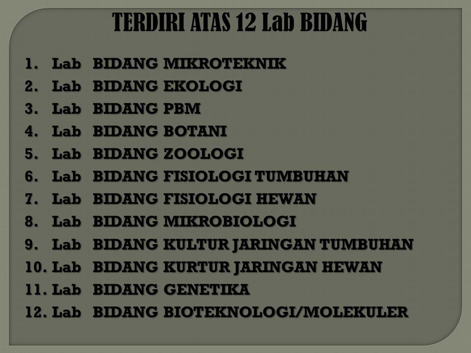 TERDIRI ATAS 12 Lab BIDANG 1.Lab BIDANG MIKROTEKNIK 2.Lab BIDANG EKOLOGI 3.Lab BIDANG PBM 4.Lab BIDANG BOTANI 5.Lab BIDANG ZOOLOGI 6.Lab BIDANG FISIOLOGI TUMBUHAN 7.Lab BIDANG FISIOLOGI HEWAN 8.Lab BIDANG MIKROBIOLOGI 9.Lab BIDANG KULTUR JARINGAN TUMBUHAN 10.Lab BIDANG KURTUR JARINGAN HEWAN 11.Lab BIDANG GENETIKA 12.Lab BIDANG BIOTEKNOLOGI/MOLEKULER