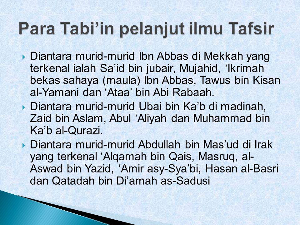  Diantara murid-murid Ibn Abbas di Mekkah yang terkenal ialah Sa'id bin jubair, Mujahid, 'Ikrimah bekas sahaya (maula) Ibn Abbas, Tawus bin Kisan al-Yamani dan 'Ataa' bin Abi Rabaah.