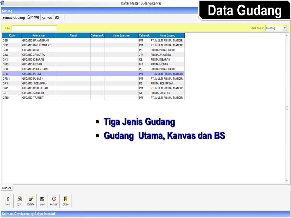  Tiga Jenis Gudang  Gudang Utama, Kanvas dan BS Data Gudang