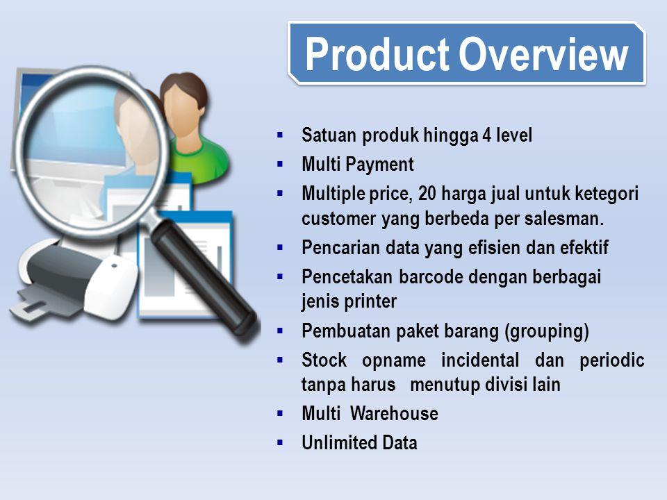  Satuan produk hingga 4 level  Multi Payment  Multiple price, 20 harga jual untuk ketegori customer yang berbeda per salesman.  Pencarian data yan