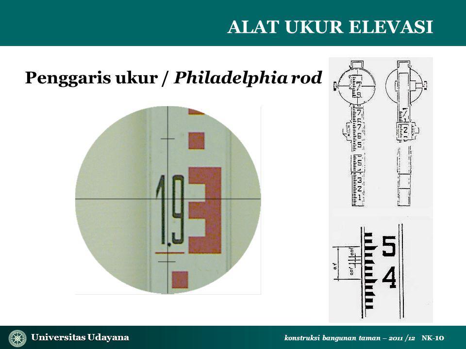 Universitas Udayana Universitas Udayana konstruksi bangunan taman – 2011 /12 NK- 10 Penggaris ukur / Philadelphia rod ALAT UKUR ELEVASI