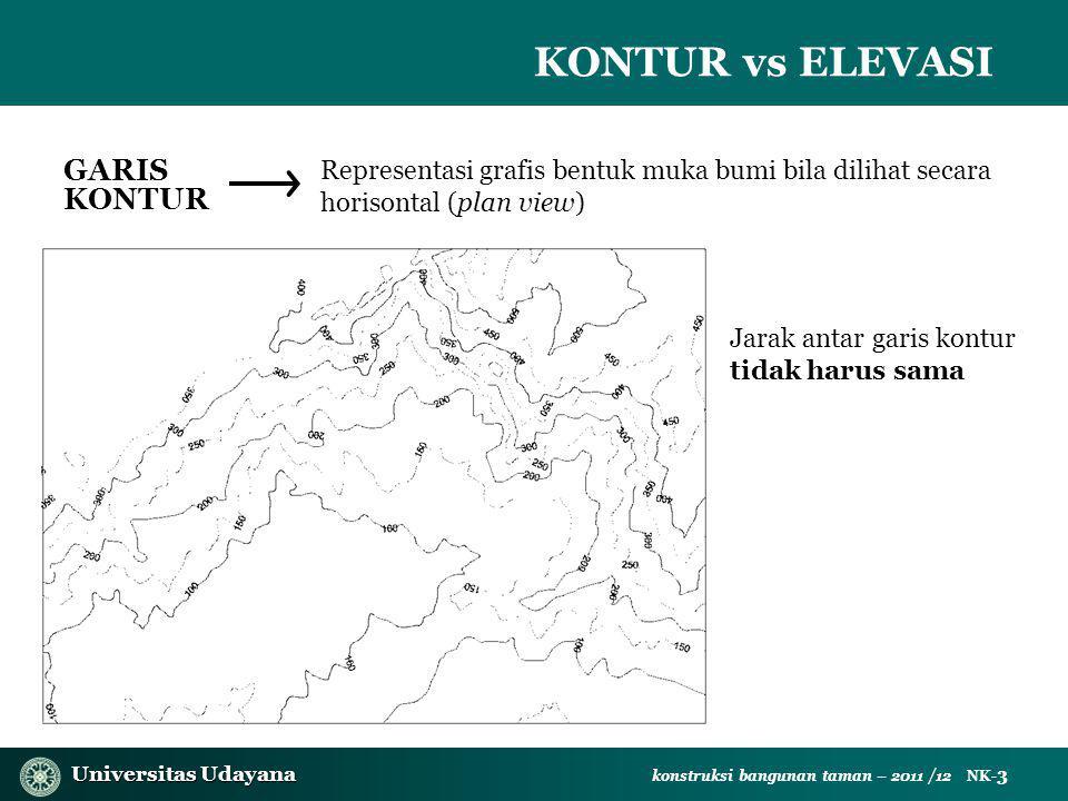 Universitas Udayana Universitas Udayana konstruksi bangunan taman – 2011 /12 NK- 3 KONTUR vs ELEVASI GARIS KONTUR Representasi grafis bentuk muka bumi bila dilihat secara horisontal (plan view) Jarak antar garis kontur tidak harus sama