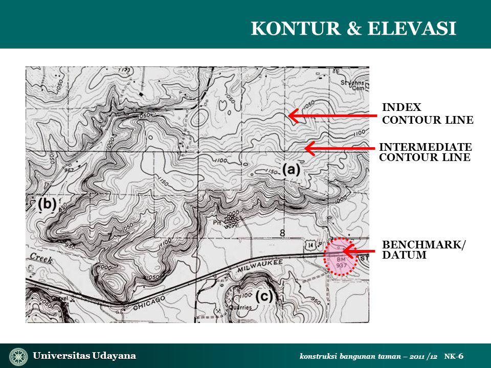 Universitas Udayana Universitas Udayana konstruksi bangunan taman – 2011 /12 NK- 6 KONTUR & ELEVASI INDEX CONTOUR LINE INTERMEDIATE CONTOUR LINE BENCHMARK/ DATUM