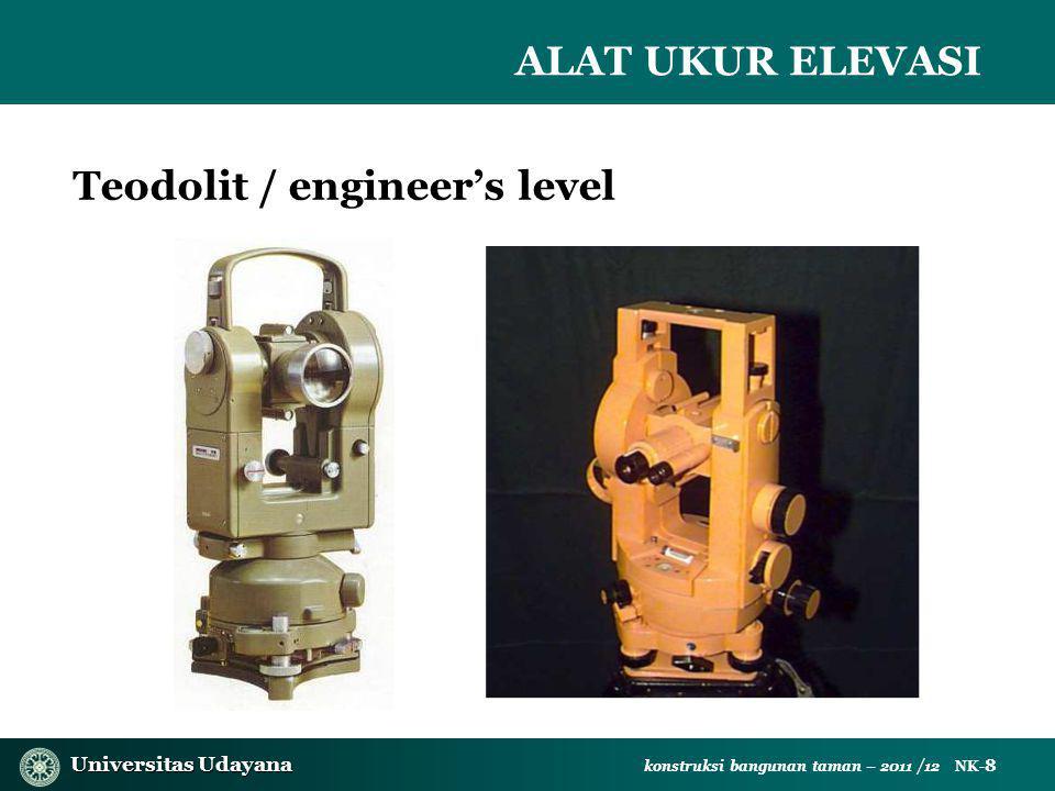 Universitas Udayana Universitas Udayana konstruksi bangunan taman – 2011 /12 NK- 8 Teodolit / engineer's level ALAT UKUR ELEVASI