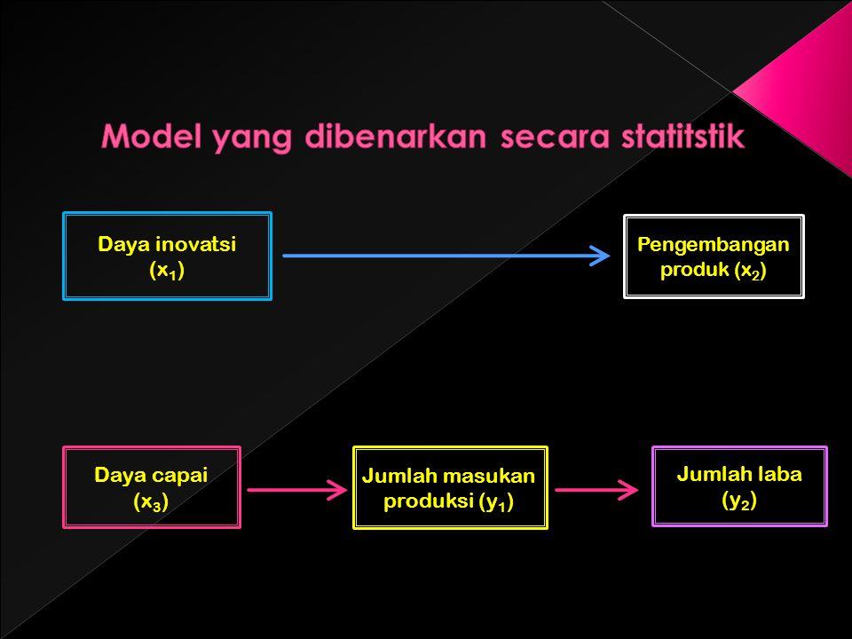 Daya inovatsi (x 1 ) Pengembangan produk (x 2 ) Daya capai (x 3 ) Jumlah masukan produksi (y 1 ) Jumlah laba (y 2 )