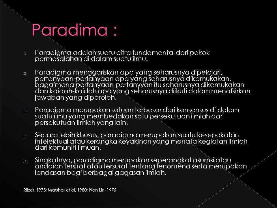 o Paradigma adalah suatu citra fundamental dari pokok permasalahan di dalam suatu ilmu.