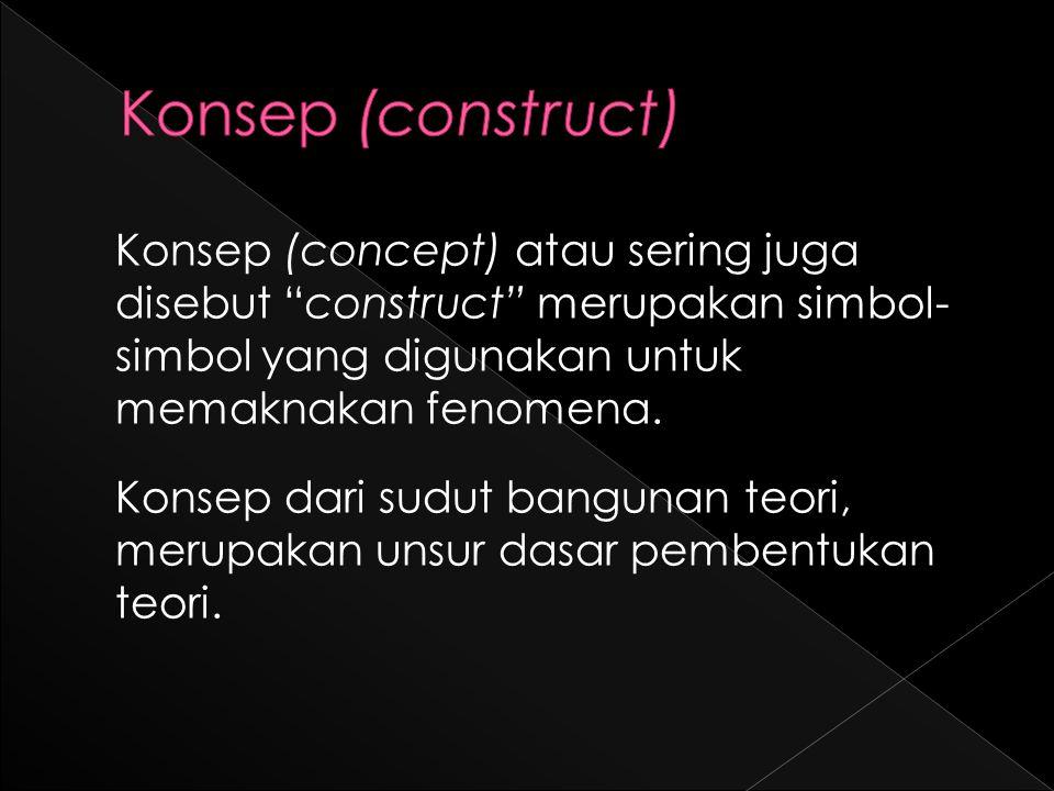 Konsep (concept) atau sering juga disebut construct merupakan simbol- simbol yang digunakan untuk memaknakan fenomena.