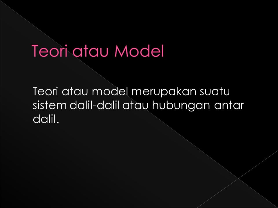 Teori atau model merupakan suatu sistem dalil-dalil atau hubungan antar dalil.