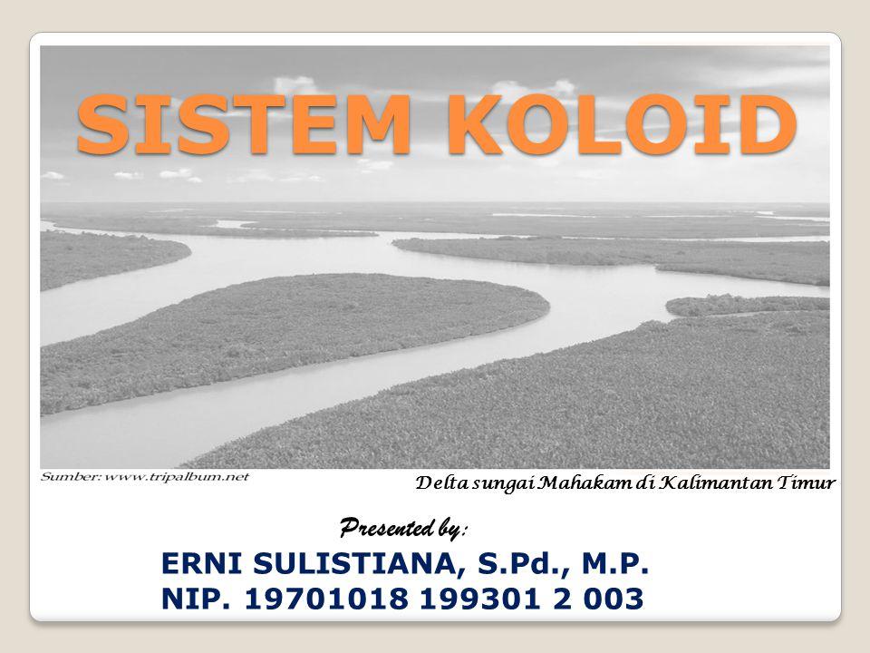 SISTEM KOLOID Presented by: ERNI SULISTIANA, S.Pd., M.P. NIP. 19701018 199301 2 003 Delta sungai Mahakam di Kalimantan Timur