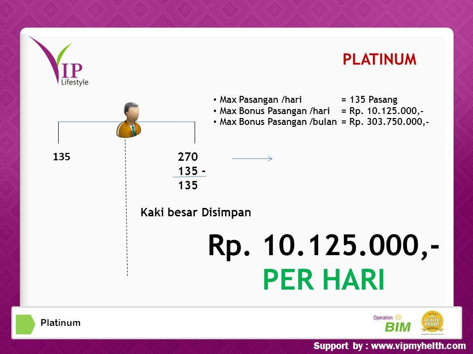 Platinum • Max Pasangan /hari=135 Pasang ax Bonus Pasangan /hari=Rp.